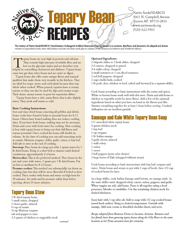 Tepary Bean Recipe Handout Page 1
